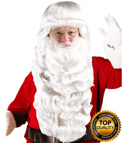 Mens Santa Claus Long Wig and Beard Set Deluxe HX-004