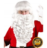 Mens Father Xmas Santa Claus Wig and Beard Set Deluxe HX-005