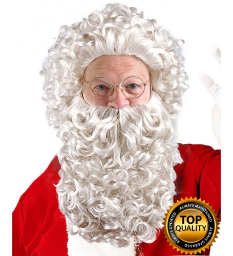 Mens Curly Santa Claus Wig and Beard Set Deluxe HX-010
