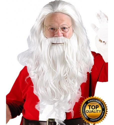 Adult Mens Santa Claus Wig and Beard Set Deluxe HX-011