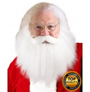 Adult Sanda Claus White Beard and Moustache Set Deluxe HX-013