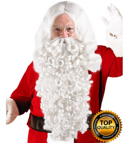 Mens Santa Claus Wig and Beard Set Deluxe HX-019