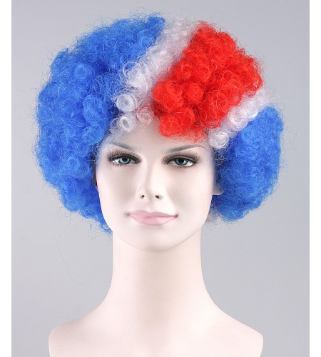 Red Blue Party Afro Wig