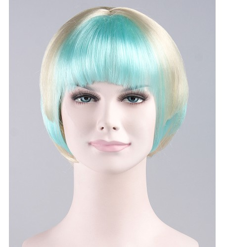 Blue White Swing Bob Wig