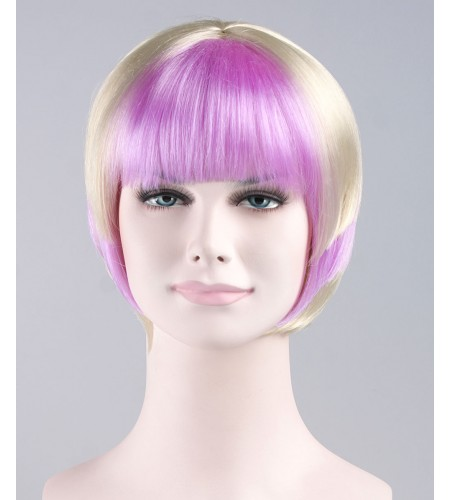 Purple White Swing Bob Wig